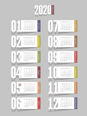 Calendar 2020 year. Color vector template. Week starts on Sunday. Basic grid. Ready design 일러스트