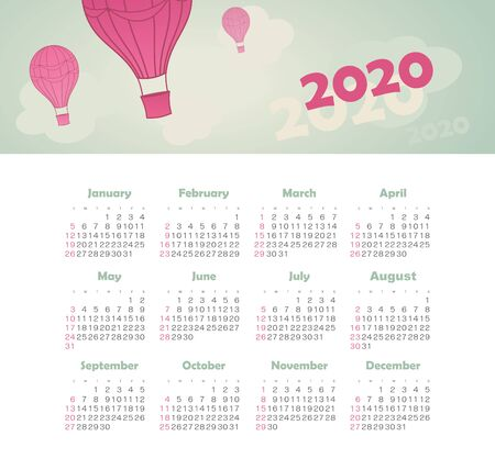 Modern vector Calendar 2020 year with balloon, sky, cloud, aerostat. Color vector template. Week starts on Sunday. Basic grid. Ready design