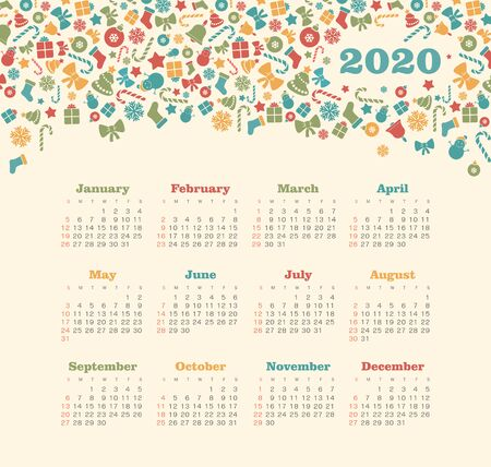 Calendar 2020 year with Christmas pattern. Color vector template. Week starts on Sunday. Basic grid. Ready design 일러스트