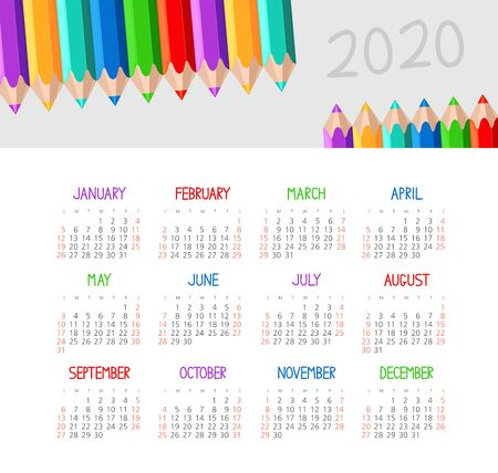 Calendar 2020 year with pencil. Color vector template. Week starts on Sunday. Basic grid. Ready design 일러스트