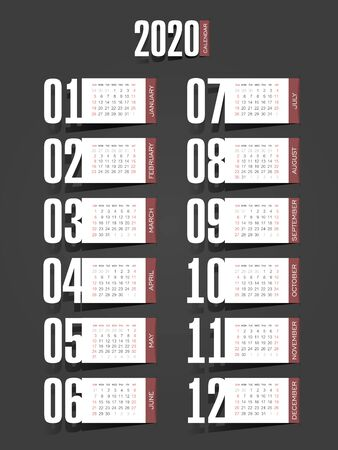 Calendar 2020 year. Color vector template. Week starts on Sunday. Basic grid. Ready design Ilustração
