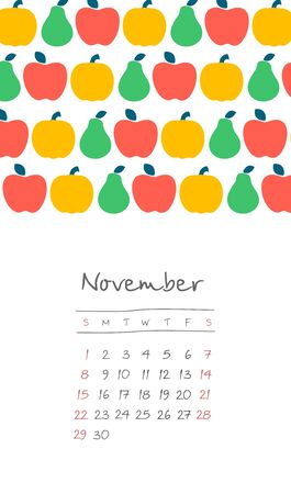 Calendar 2020 months November. Week starts from Sunday. Hand drawn with harvest of apples and pears,