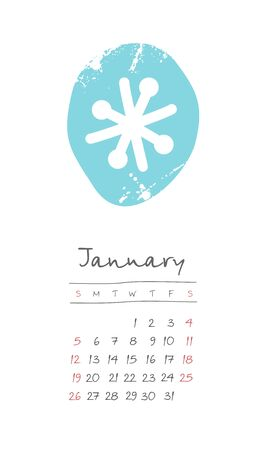 Calendar 2020 months January. Week starts from Sunday. Hand drawn with snowflake Çizim