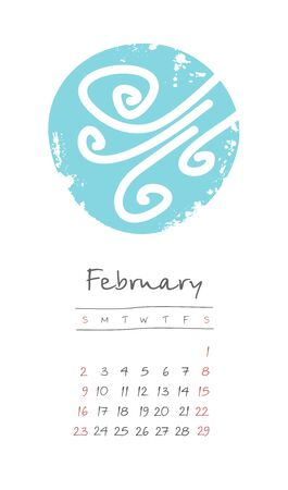 Calendar 2020 months February. Week starts from Sunday. Hand drawn with snowstorm Ilustração