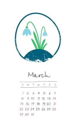 Calendar 2020 months March. Week starts from Sunday. Hand drawn with snowdrop
