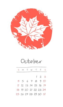 Calendar 2020 months October. Week starts from Sunday. Hand drawn with fallen yellow leaf