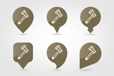Axe, ax, hatchet flat vector pin map icon. Map pointer. Map markers. Garden, eps 10