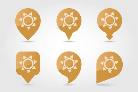 Sun flat pin map icon. Map pointer. Map markers. Farm. Field. Vector illustration eps 10