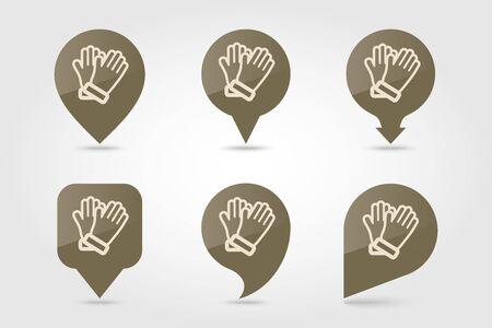 Rubber garden gloves flat vector pin map icon. Map pointer. Map markers. Icon rubber gloves for working in the garden. Icon household rubber gloves. Vector illustration. Ilustração