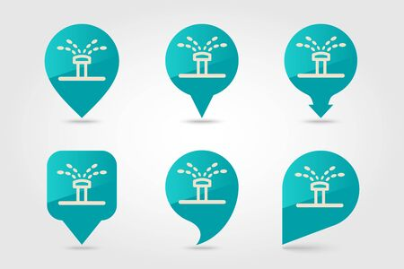 Water sprinkler, irrigation flat vector pin map icon. Map pointer. Map markers.