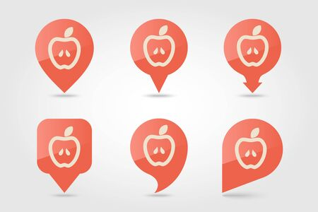 Apple flat pin map icon. Map pointer. Map markers. Farm. Field. Harvest. Vector illustration eps 10