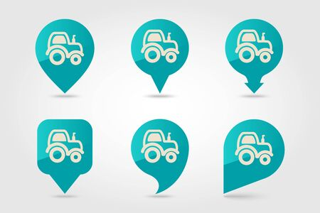 Tractor flat vector pin map icon. Map pointer. Map markers. Farmer machine. Agriculture sign. Graph symbol for your web site design, logo, app, UI