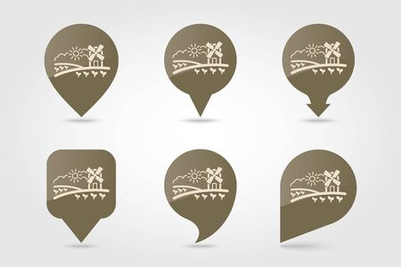 Rural landscape with windmill flat vector pin map icon. Map pointer. Map markers. Agriculture sign. Graph symbol for your web site design