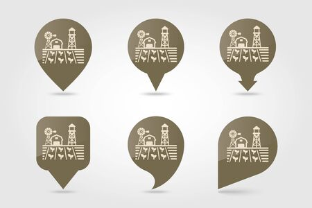 Farm landscape with barn, windpump, seedling and water tower flat vector pin map icon. Map pointer. Map markers. Agriculture sign