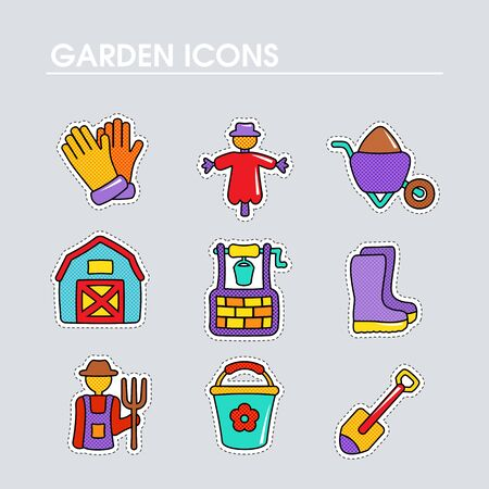 Garden Farm flat vector icon outline isolated. Graph symbol for your web site design, app, UI. Vector illustration Иллюстрация