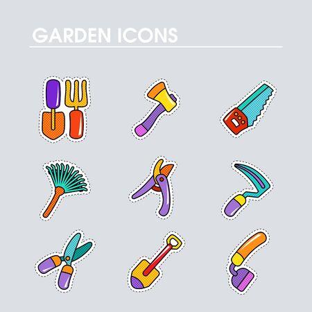 Garden Farm flat vector icon outline isolated. Graph symbol for your web site design, logo, app, UI. Vector illustration Vettoriali