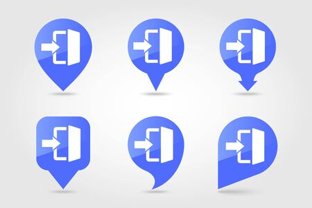Login pin map icon in trendy flat style. E-commerce sign. Map pointer. Map markers. Destination vector icon Vecteurs