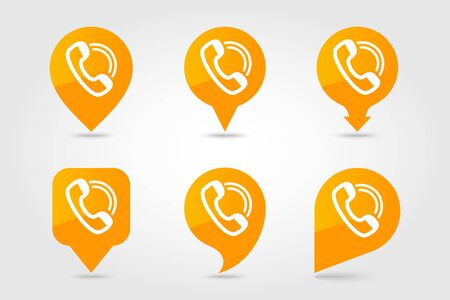 Phone handset pin map icon. E-commerce sign. Map pointer. Map markers. Destination vector icon.