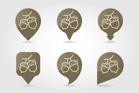 Acorn pin map icon. Harvest map pointer. Thanksgiving map markers. Vector illustration for apps and websites Standard-Bild - 133057408