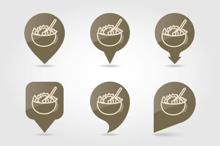 Salad bowl pin map icon. Harvest map pointer. Thanksgiving map markers. Vector illustration for apps and websites