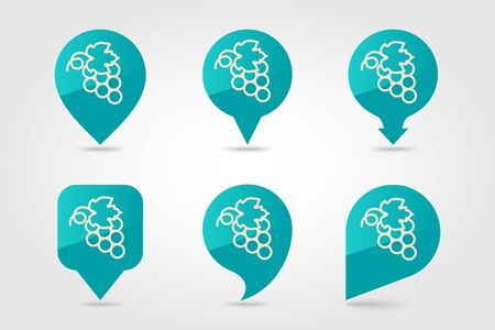 Bunch of grapes pin map icon. Harvest map pointer. Thanksgiving map markers. Vector illustration for apps and websites Standard-Bild - 133057288