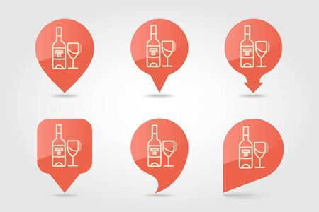 Bottle of wine and glass pin map icon. Harvest map pointer. Thanksgiving map markers. Vector illustration for apps and websites Standard-Bild - 133066111