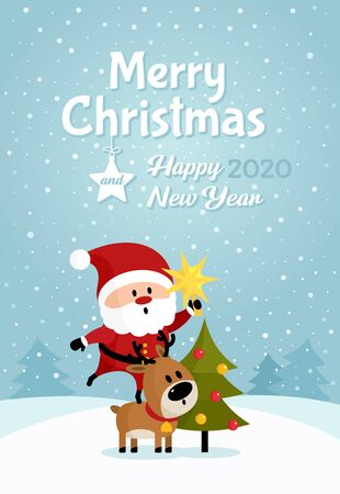 Santa Claus with bag of gifts and Christmas tree poster. Merry Christmas and Happy New Year. Holiday greeting card. Isolated vector illustration. Foto de archivo - 133424486