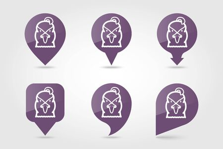 Quail flat pin map icon. Map pointer. Map markers. Animal head vector symbol Imagens - 133981771