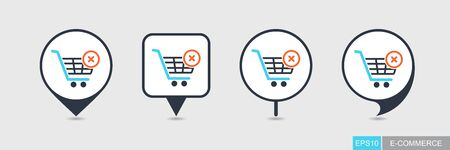 Shopping cart with cross sign. Cancel or delete purchase simple pin map icon. E-commerce. Map pointer. Map markers Иллюстрация