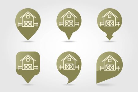 Barn pin map icon. Farm animal Map pointer. Map marker. Graph symbol for your web site design