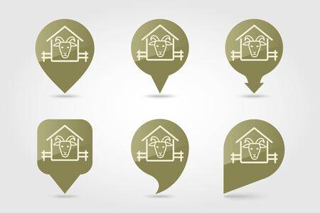 Goat house pin map icon. Farm animal Map pointer. Map marker. Graph symbol for your web site design Illusztráció