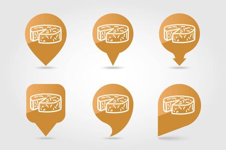 Soft cheese with mold pin map icon. Farm animal Map pointer. Map marker. Graph symbol for your web