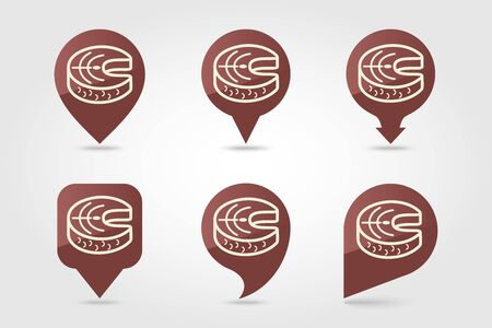 Steak of red fish salmon pin map icon. Farm animal Map pointer. Map marker. Graph symbol for your web Illustration
