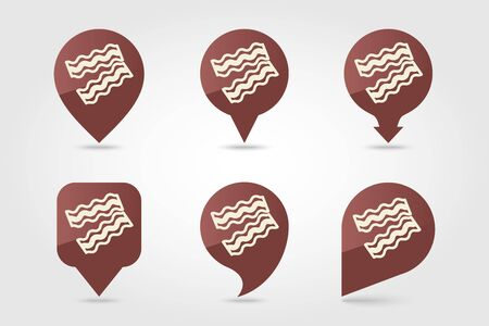 Bacon pieces pin map icon. Farm animal Map pointer. Map marker. Graph symbol for your web site design