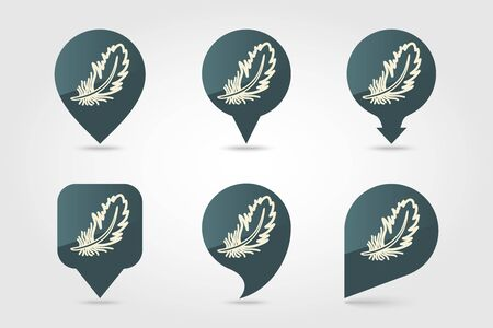 Feather pin map icon. Farm animal Map pointer. Map marker. Graph symbol for your web site design