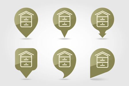 Beehive pin map icon. Farm animal Map pointer. Map marker. Graph symbol for your web site design