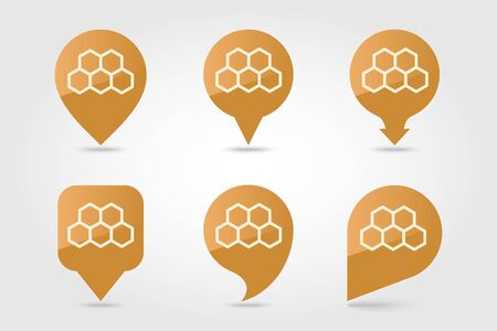Honeycomb bee pin map icon. Farm animal Map pointer. Map marker. Ilustrace