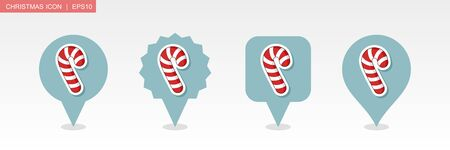Christmas Candy Cane pin map icon. Merry Christmas and Happy New Year. Christmas Map pointer. Map markers. Isolated vector illustration Ilustrace
