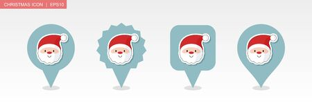 Santa Claus face pin map icon. Merry Christmas and Happy New Year. Christmas Map pointer. Map markers. Isolated vector illustration