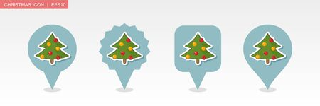 Christmas tree pin map icon. Merry Christmas and Happy New Year. Christmas Map pointer. Map markers. Isolated vector illustration Ilustrace