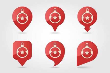 Christmas balls flat pin map icon. Map pointer.