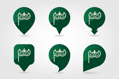 Christmas festive mask flat pin map icon. Map pointer. Map markers. Vector illustration