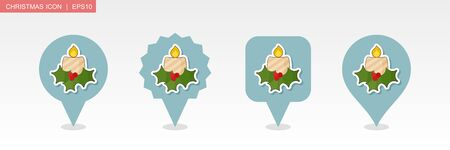 Christmas candle pin map icon. Merry Christmas and Happy New Year. Christmas Map pointer. Map markers. Isolated vector illustration