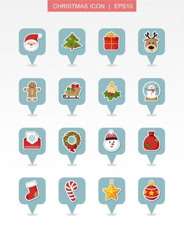 Christmas pin map icon set. Holiday objects collection. Merry Christmas and Happy New Year. Map pointer. Map markers. Isolated vector illustration Ilustrace