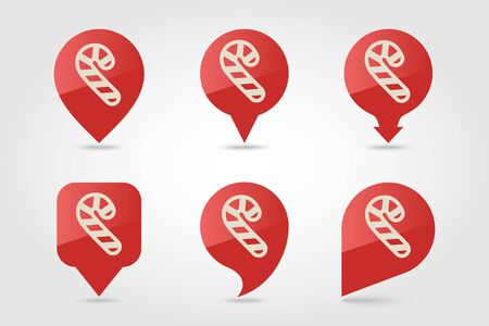 Christmas Candy Cane flat pin map icon. Map pointer. Map markers. Vector illustration