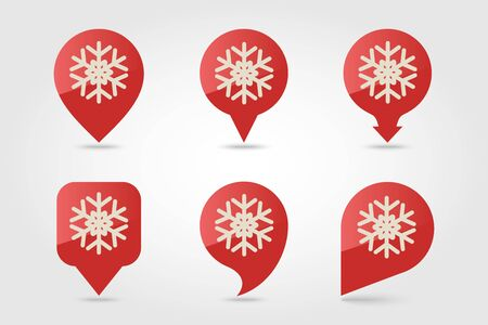 Modern Snowflake flat pin map icon. Map pointer. Map markers. Vector illustration