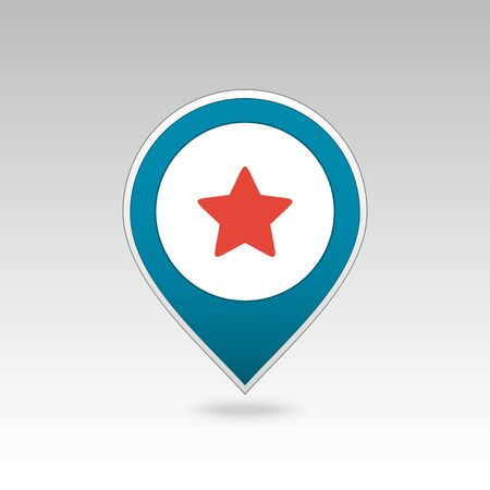 Star favorite pin map icon. Map pointer. Map markers. Vector illustration