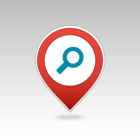Search pin map icon. Vector magnifier or loupe map pointer. Magnifying glass map markers. Destination vector icon. GPS location symbol