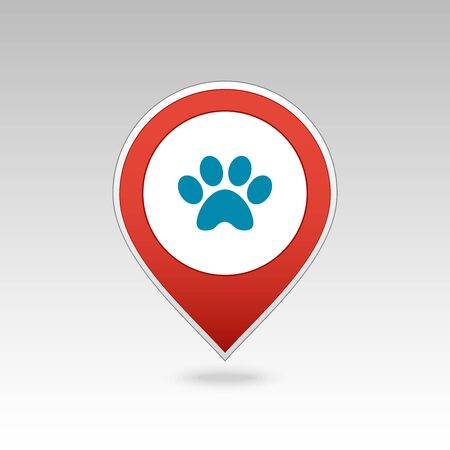 Dog paw pin map icon. Map pointer. Map markers. Destination vector icon. GPS location symbol. Mapping pins icon   vector file has transparency