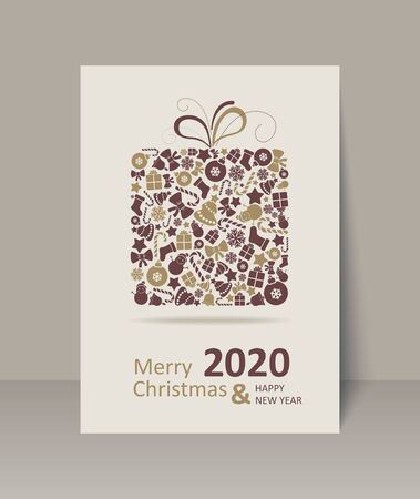 Christmas Greeting Card. Happy New Year. Merry Christmas lettering, vector illustration Ilustrace